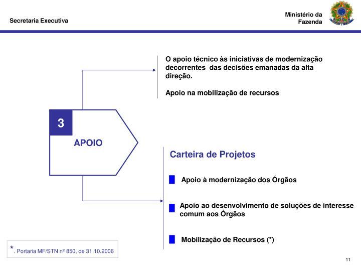 O apoio técnico às iniciativas de modernização decorrentes  das decisões emanadas da alta direção.