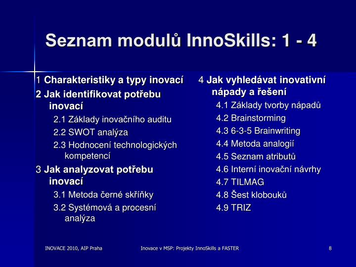 Seznam modulů