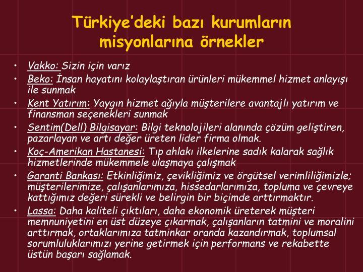 Türkiye'deki bazı kurumların