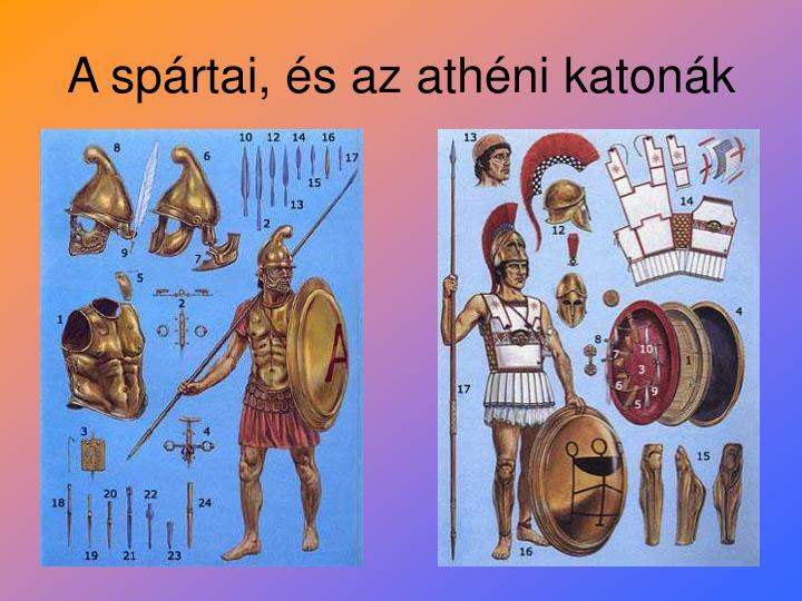 A spártai, és az athéni katonák