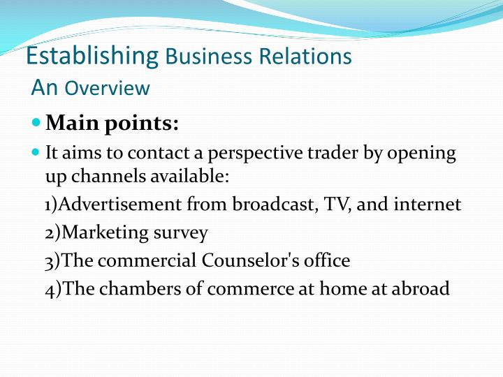 Establishing business relations an overview