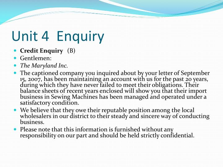 Unit 4  Enquiry