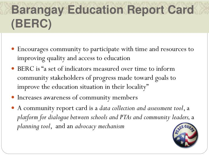 Barangay Education Report Card (BERC)