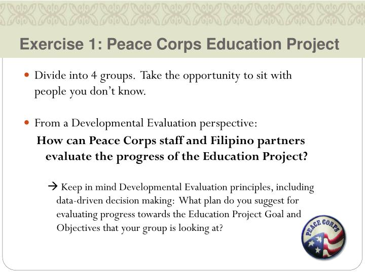 Exercise 1: Peace Corps Education Project