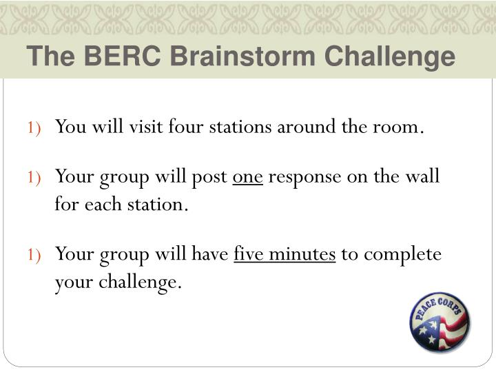The BERC Brainstorm Challenge