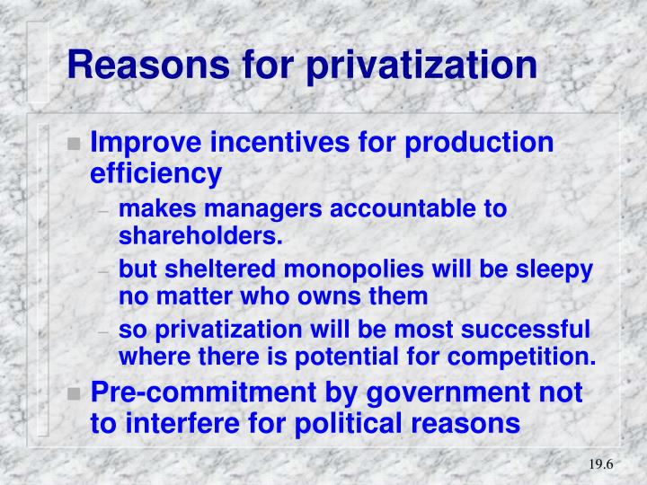 Reasons for privatization