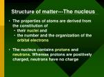 structure of matter the nucleus