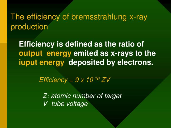 The efficiency of bremsstrahlung