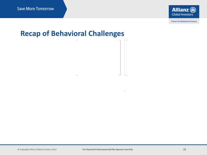 Recap of Behavioral