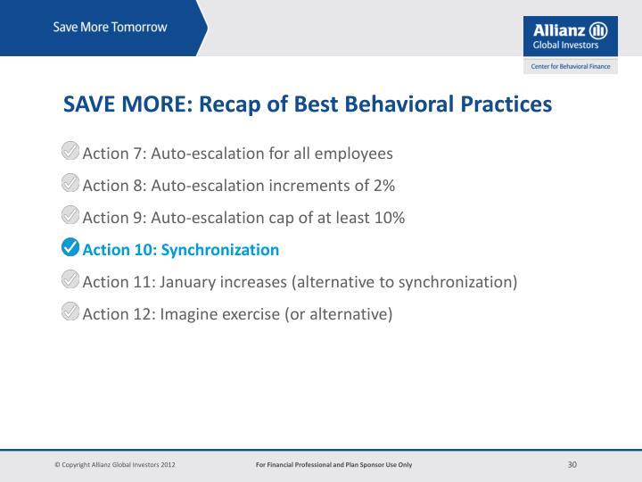SAVE MORE: Recap of Best Behavioral Practices