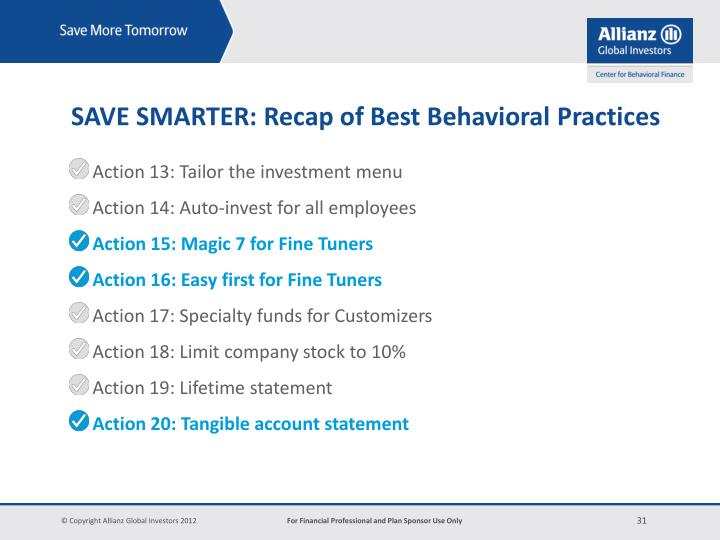 Action 13: Tailor the investment menu