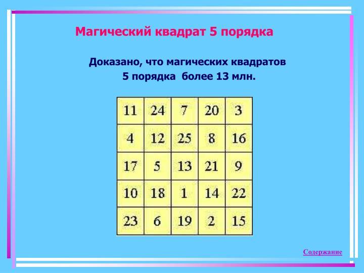 Магический квадрат 5 порядка