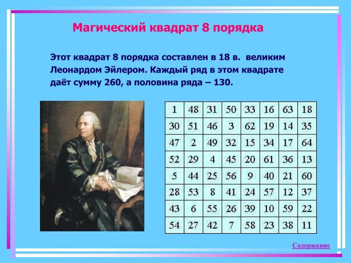 Магический квадрат 8 порядка