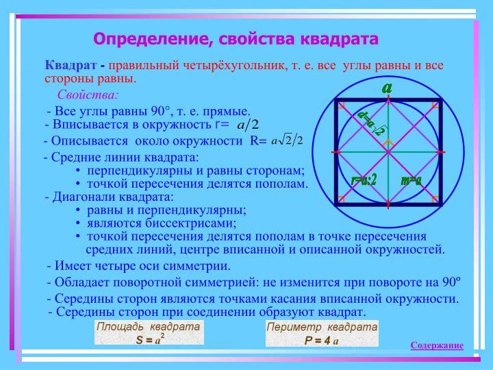 Определение, свойства квадрата