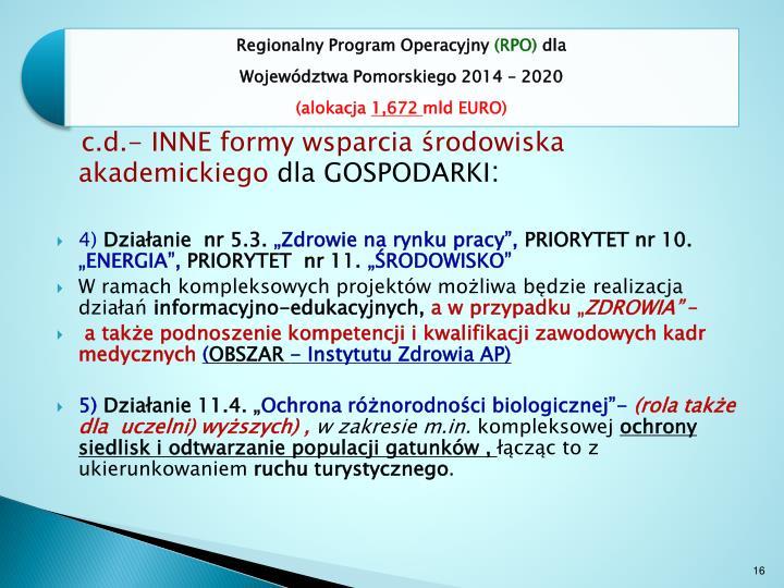 c.d.- INNE formy wsparcia środowiska akademickiego