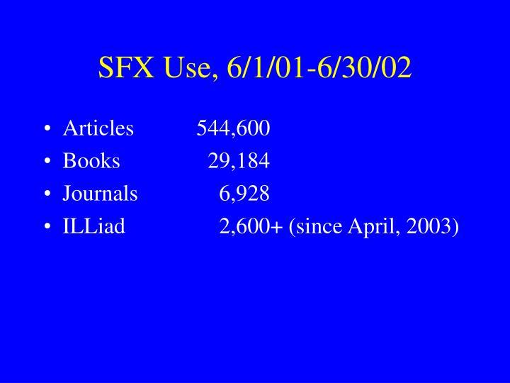 SFX Use, 6/1/01-6/30/02