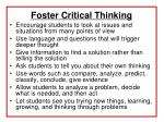 foster critical thinking