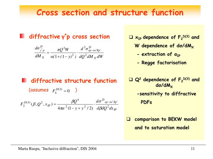 Cross section and structure function