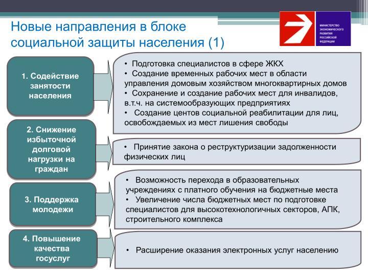 Новые направления в блоке социальной защиты населения (1)
