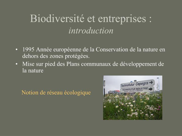 Biodiversité et entreprises :