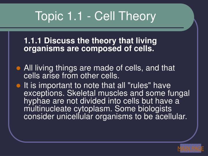 Topic 1 1 cell theory