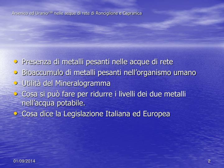 Arsenico ed Uranio