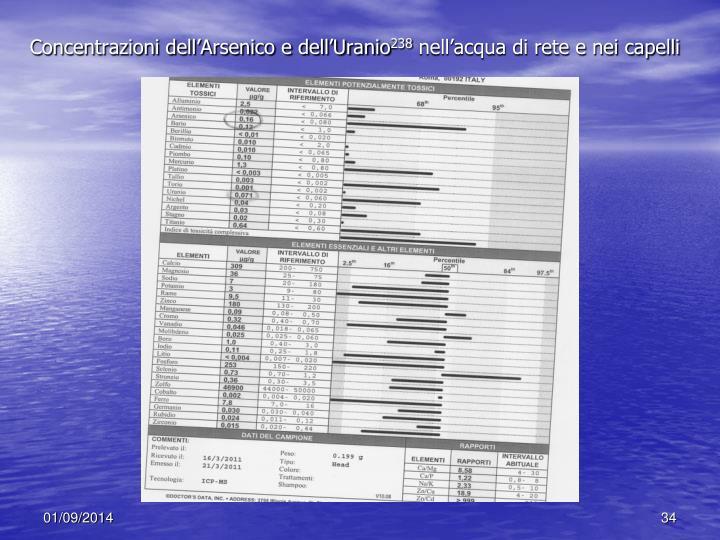 Concentrazioni dell'Arsenico e dell'Uranio