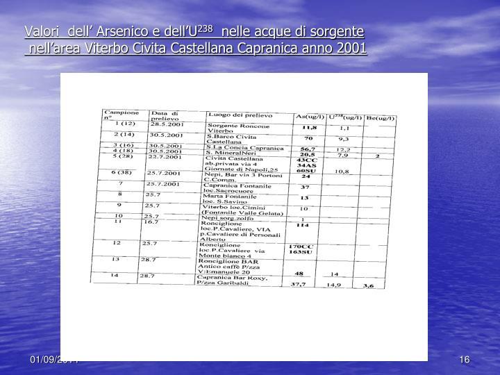 Valori  dell' Arsenico e dell'U