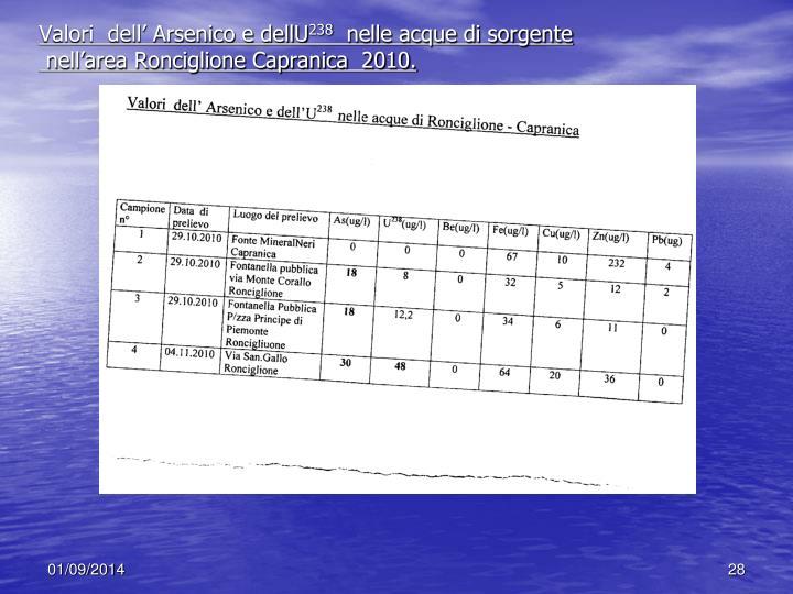 Valori  dell' Arsenico e dellU