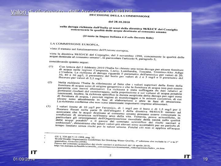 Valori di riferimento  dell' Arsenico e dell'U