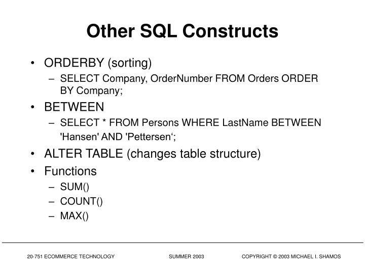 Other SQL Constructs