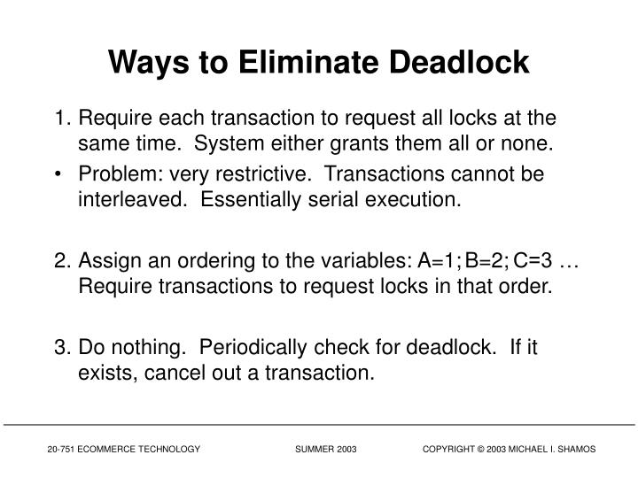 Ways to Eliminate Deadlock