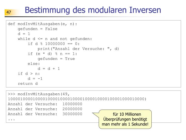 Bestimmung des modularen Inversen