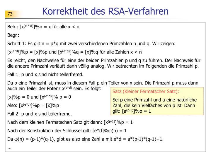 Korrektheit des RSA-Verfahren