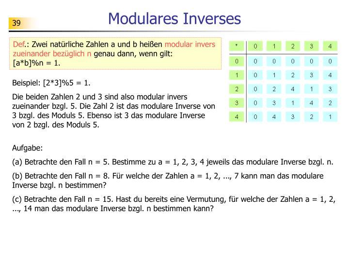 Modulares Inverses