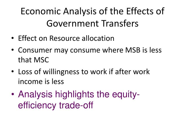 Economic analysis of the effects of government transfers