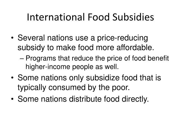International Food Subsidies