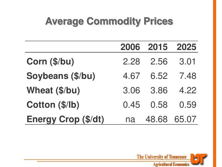 Average Commodity Prices