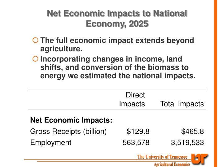 Net Economic Impacts to National Economy, 2025