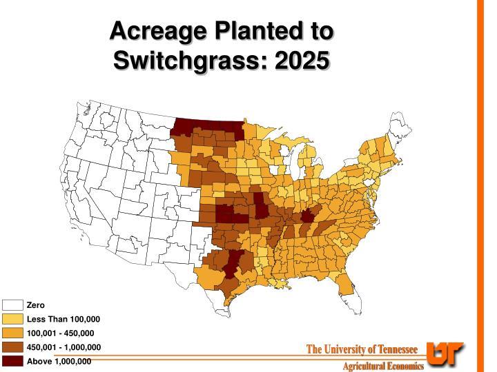 Acreage Planted to Switchgrass: 2025