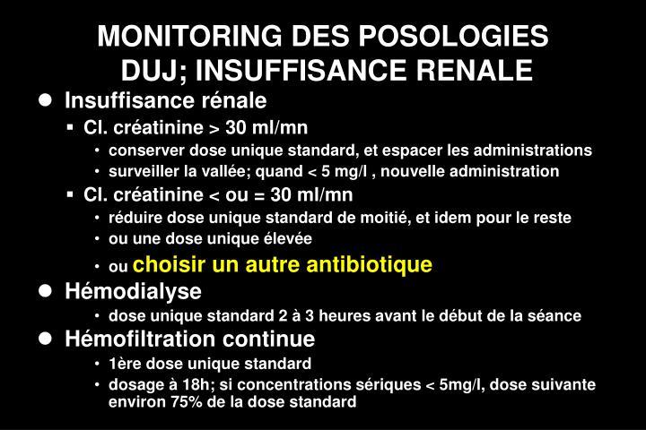MONITORING DES POSOLOGIES