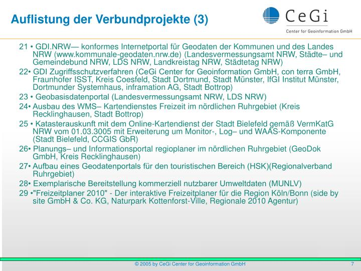 Auflistung der Verbundprojekte (3)