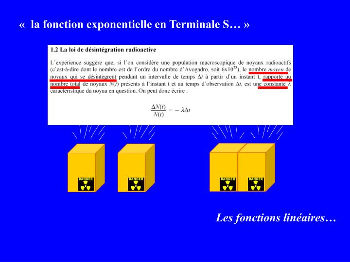« la fonction exponentielle en Terminale S…»