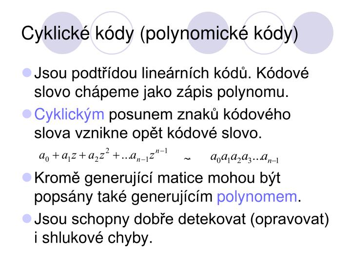 Cyklické kódy (polynomické kódy)
