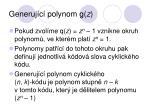 generuj c polynom g z