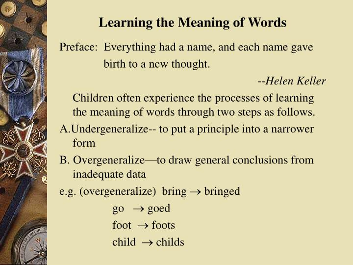 Learning the Meaning of Words