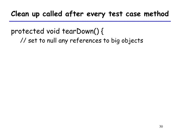 Clean up called after every test case method