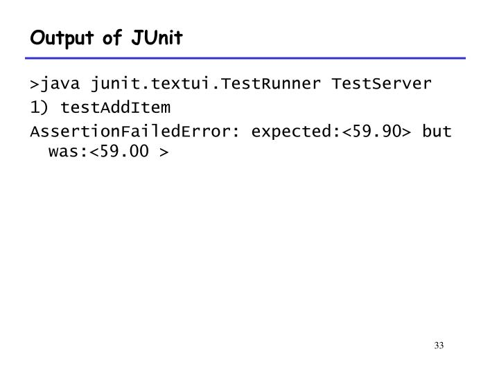 Output of JUnit