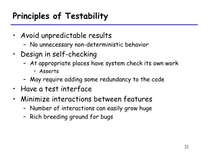 Principles of Testability