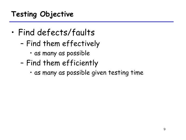 Testing Objective